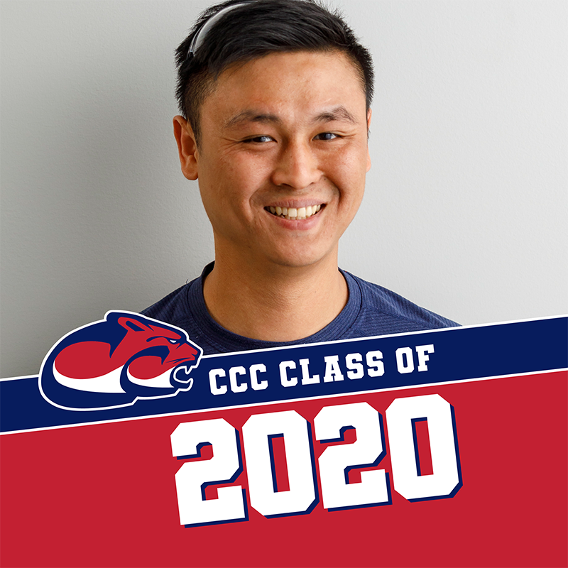 Example Facebook frame showing a student photo with class of 2020 and Clackamas Community College logo at the bottom