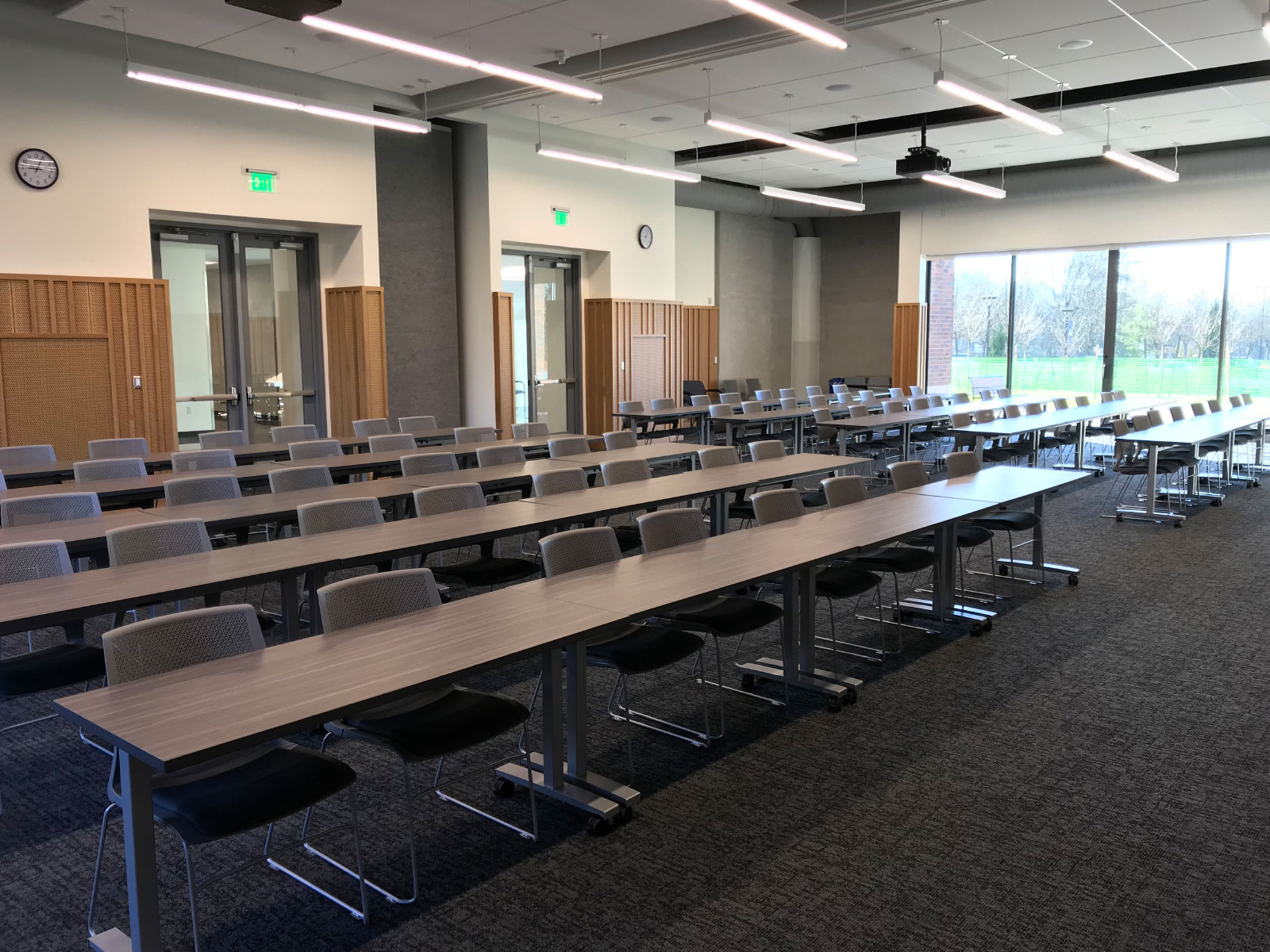 Rows of chairs and tables in Harmony Campus community room