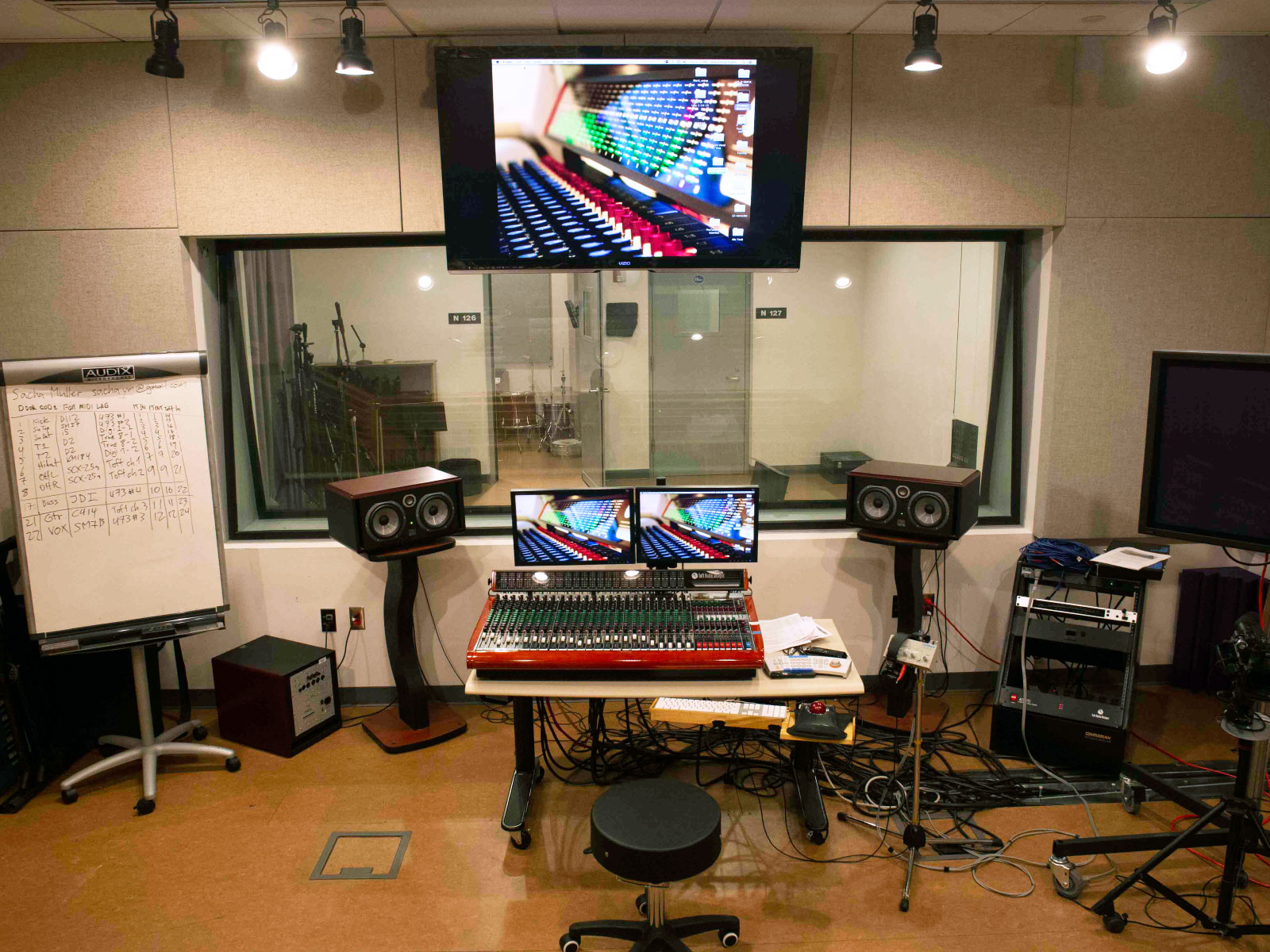 Recording studio equipment in control room with heads-up TV display in the Niemeyer Center at the Oregon City campus