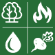 Natural Resources EFA icon logos, a tree, flame, water drop and turnip
