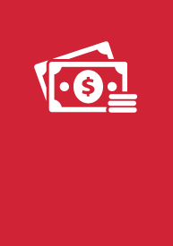 Business EFA icon logo, dollar bills and coins