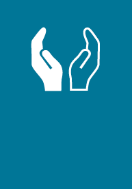 Creative Arts, Communication + Humanities EFA icon logo, two open-palmed and different-colored hands