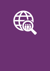 Social Sciences, Human Services + Criminal Justice EFA icon logo, a globe with a magnifying glass on it