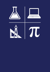 Science, Technology, Engineering + Math (STEM) EFA icon logos, a beaker, laptop, Pi symbol and triangle ruler