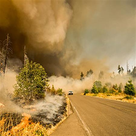 Emergency vehicle drives down forest road surrounded by wildfire smoke