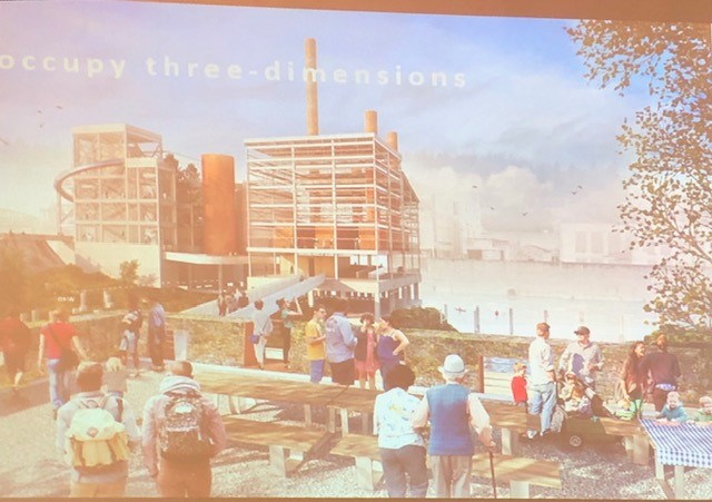 Willamette Falls Legacy Project slide displaying visitors