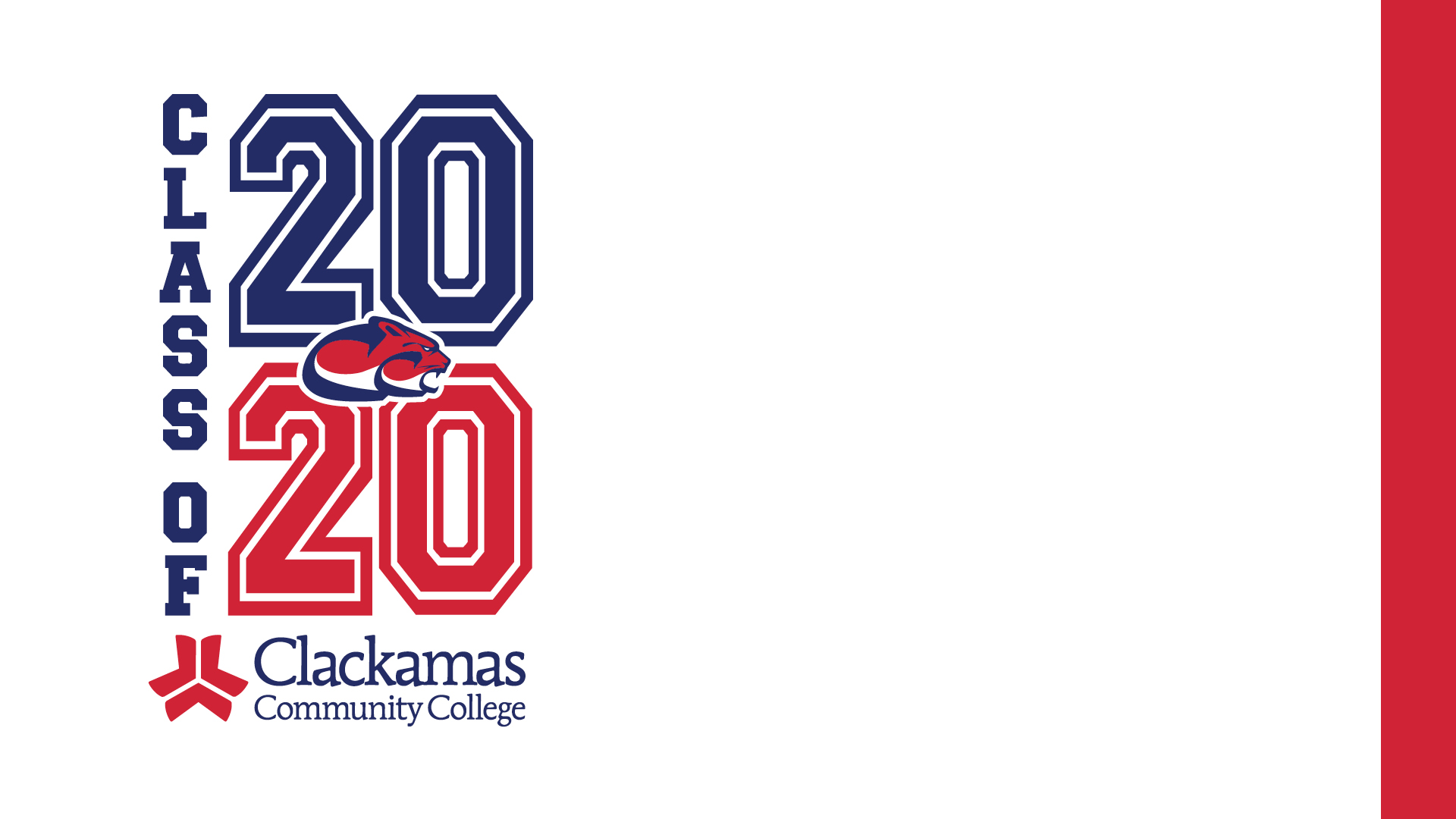 Zoom background with white background, red and blue Class of 2020 text and red vertical banner on the right